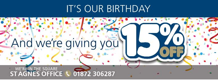 1st birthday 15% off Thurstan Hoskin Solicitors Cornwall Redruth Hayle St Agnes