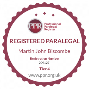 Martin Biscombe Paralegal badge