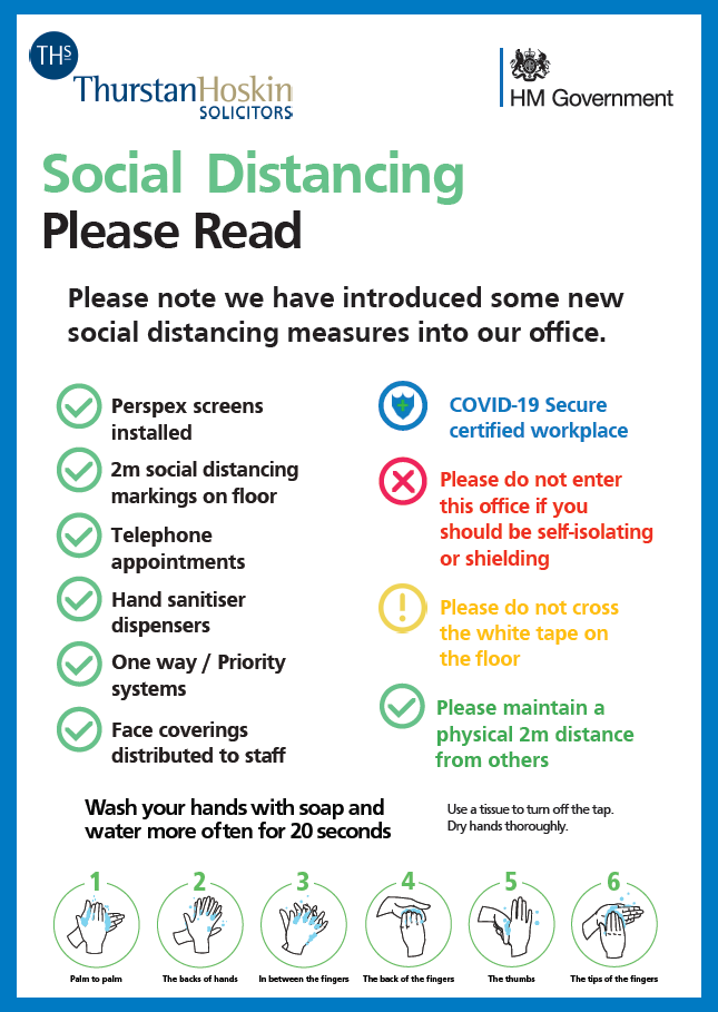 We have introduced a range of social distancing measures into our office including Perspex screens, hand sanitiser and one way systems, we are limiting client contact and dealing with matters by telephone, email or post wherever possible, please telephone us on 01209 213 646 for more information. Appointments are by appointment only and you should not attend our office if you should otherwise be self-isolating or shielding.